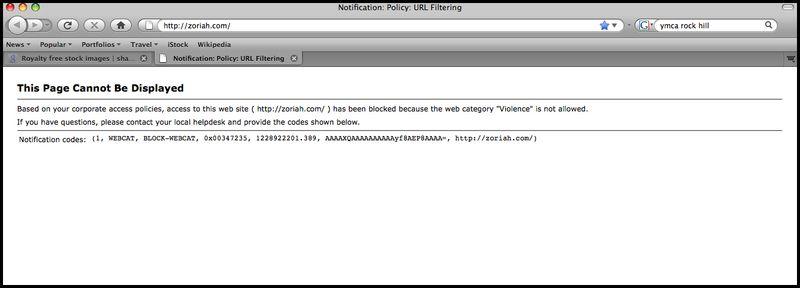 Zoriah website blocked banned censored screen shot